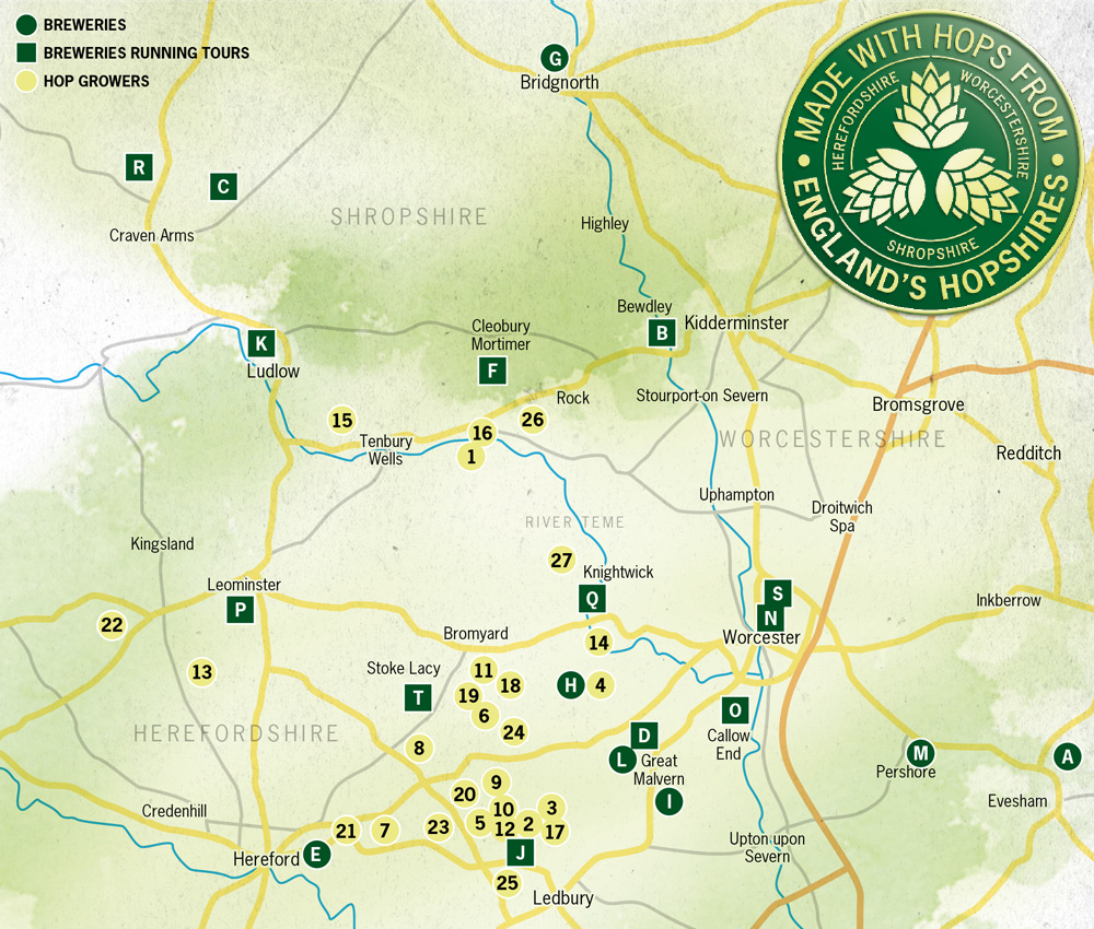 Map showing the hop growers and breweries in the Hopshires